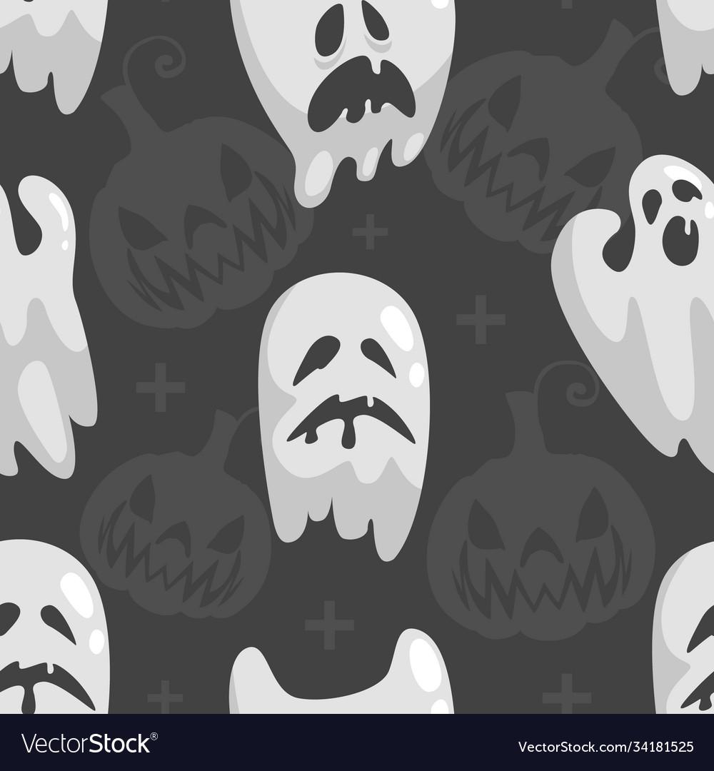 Cute little ghosts seamless pattern happy