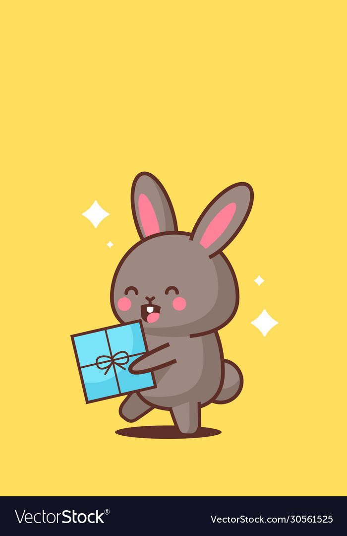 Cute rabbit holding wrapped present box happy