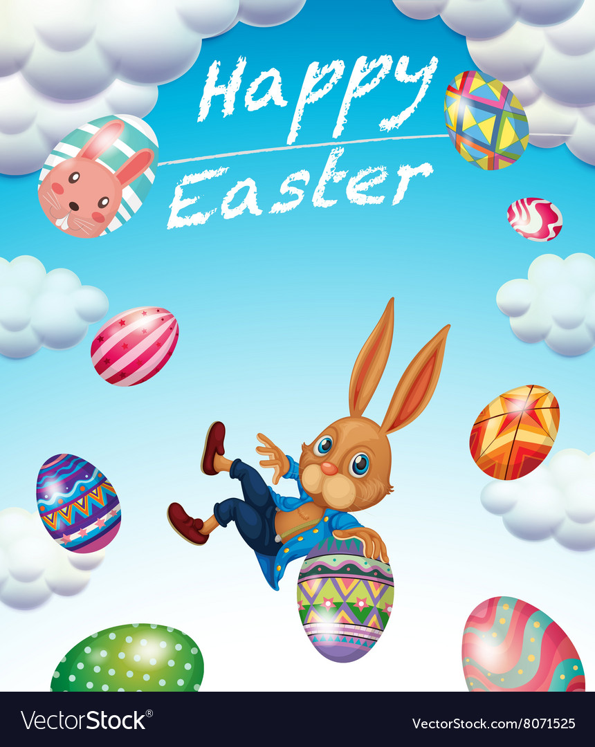 Easter Festival With Bunny And Decorated Eggs Vector Image