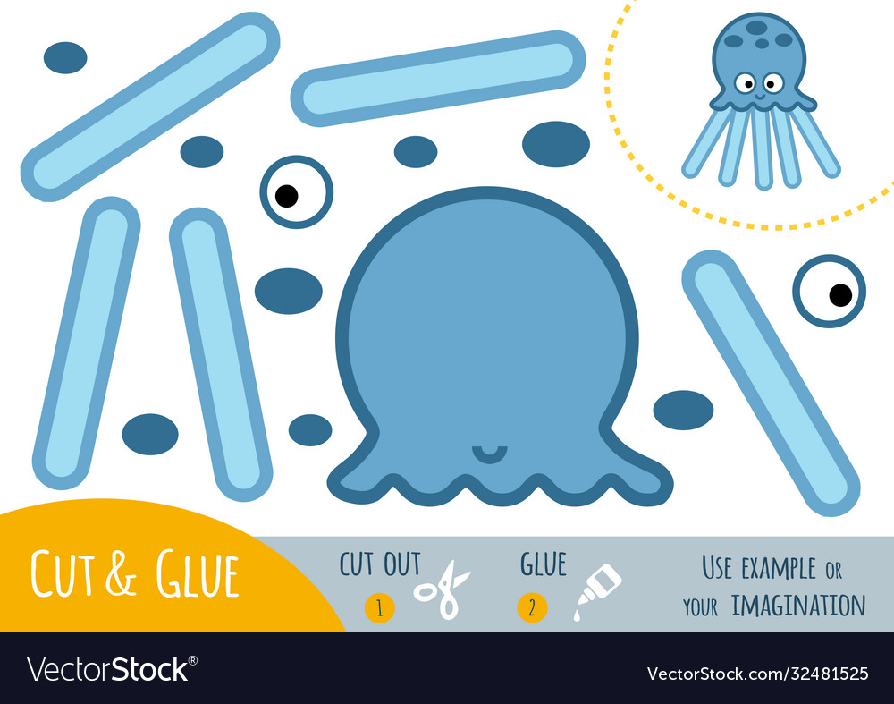 Education paper game for children octopus