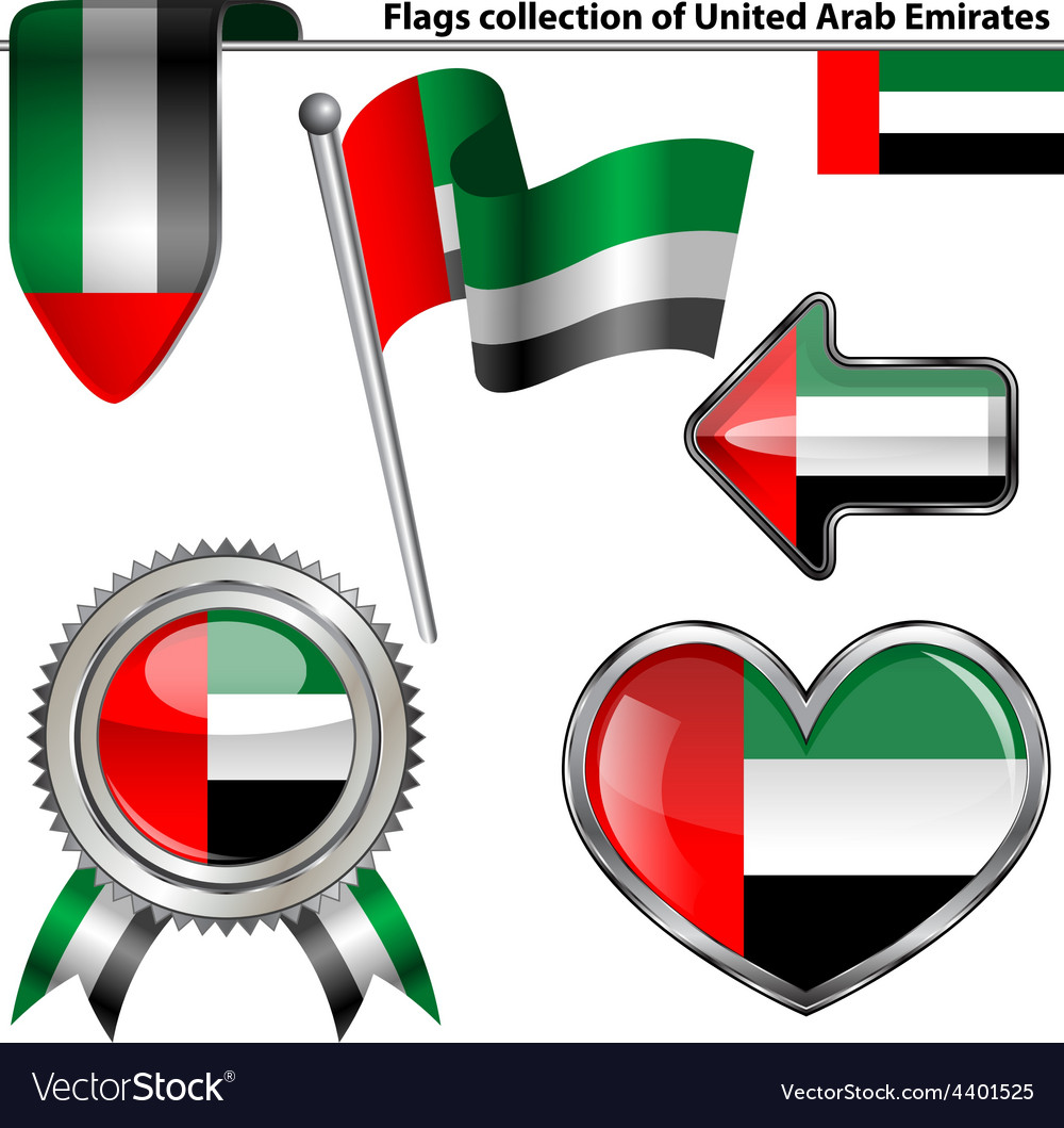 Glossy icons with United Arab Emirates flag