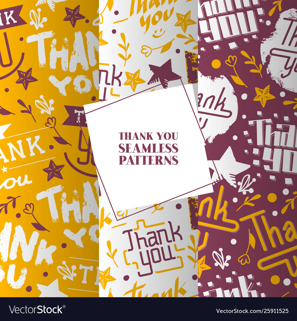 Lettering thank you set seamless patterns