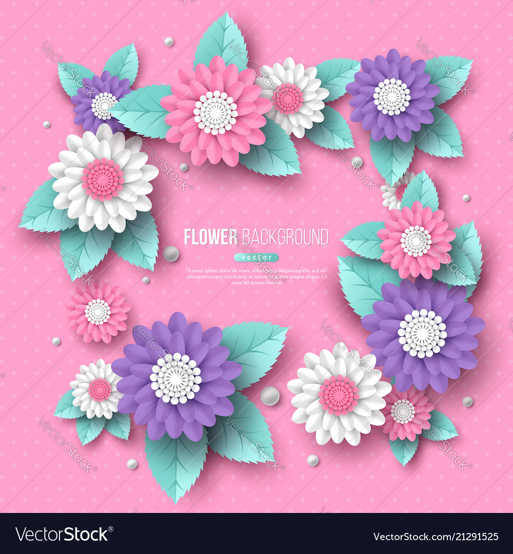 Paper cut 3d flower frame in pink white and vector image mightylinksfo