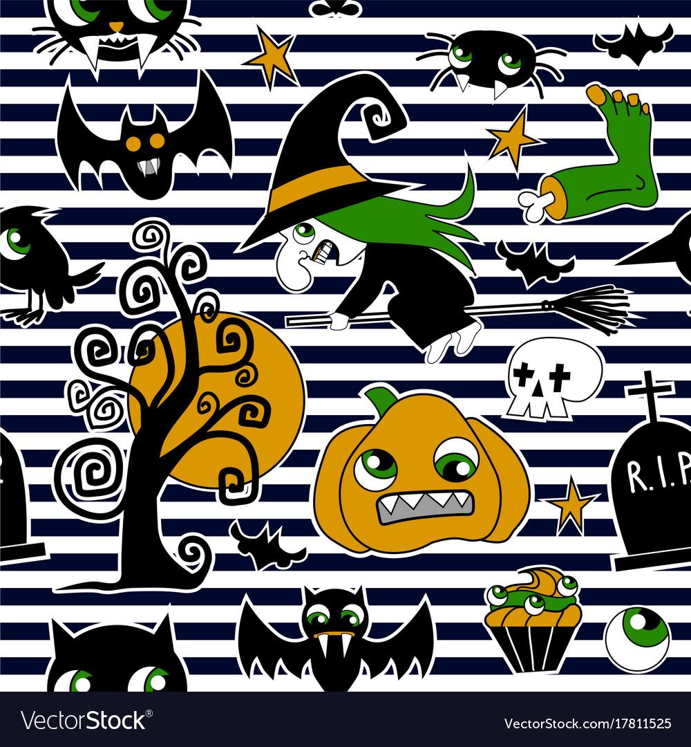 Pattern of halloween element patches pumpkin vector image