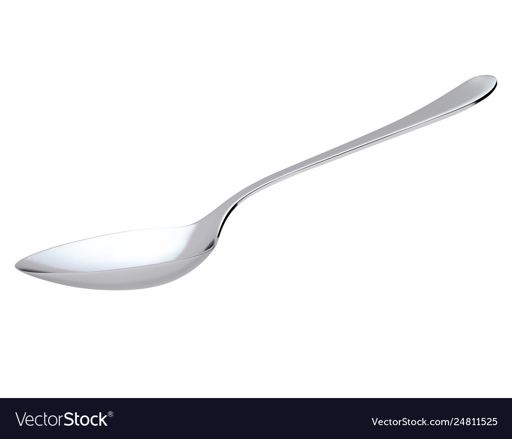 Silver spoon isolated on white realistic 3d