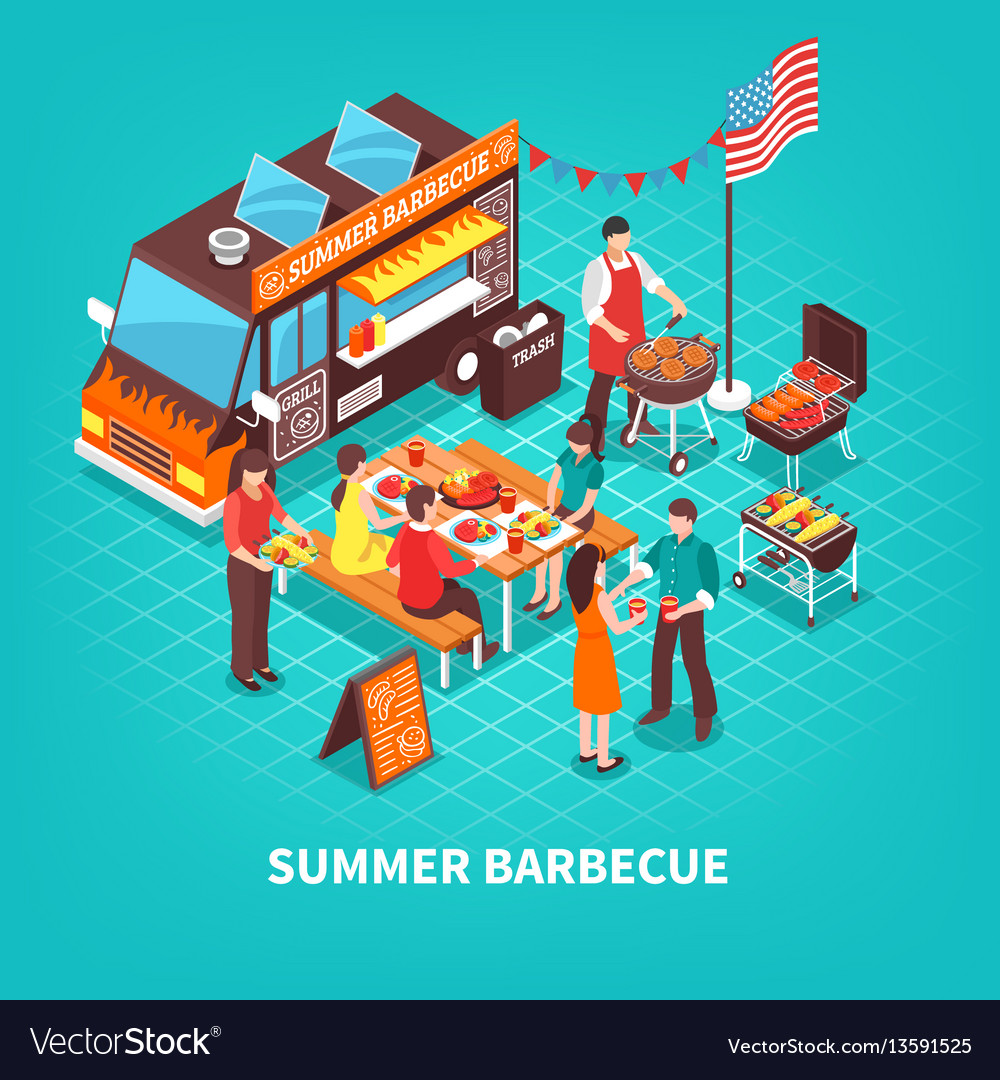 Summer barbecue isometric