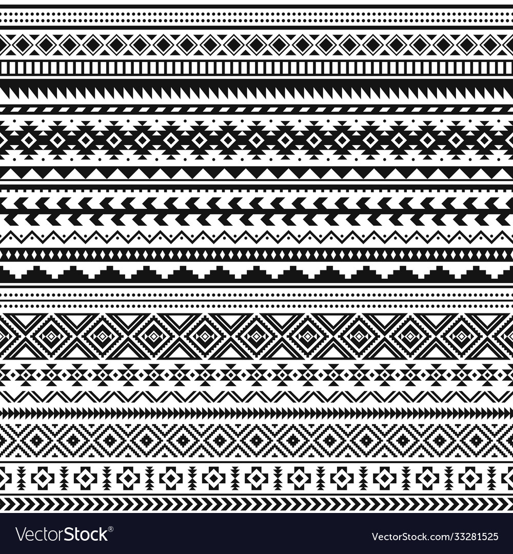 Tribal indian borders black white geometric