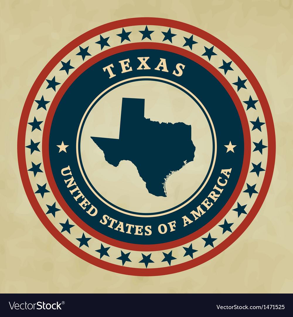 Vintage label Texas