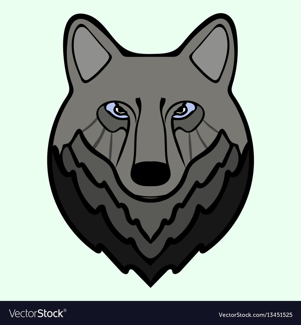 Wolf head black predator symbol freedom vector image