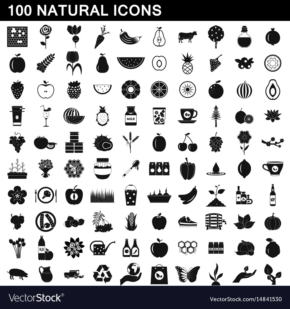 100 natural icons set simple style