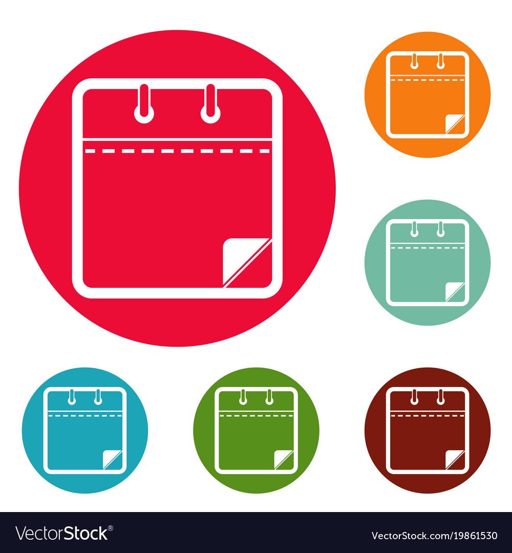 calendar clean icons circle set royalty free vector image
