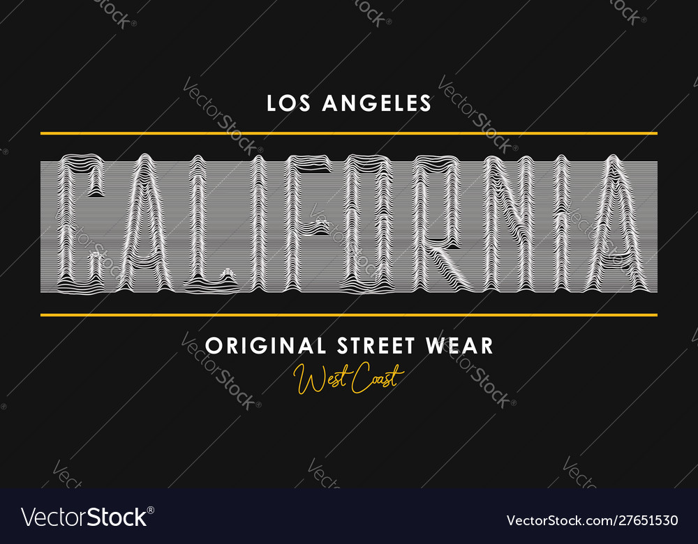 California t-shirt design with slogan from 3d line