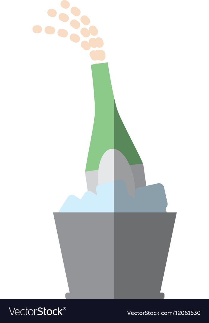 Champagne bucket bottle ice design shadow vector image