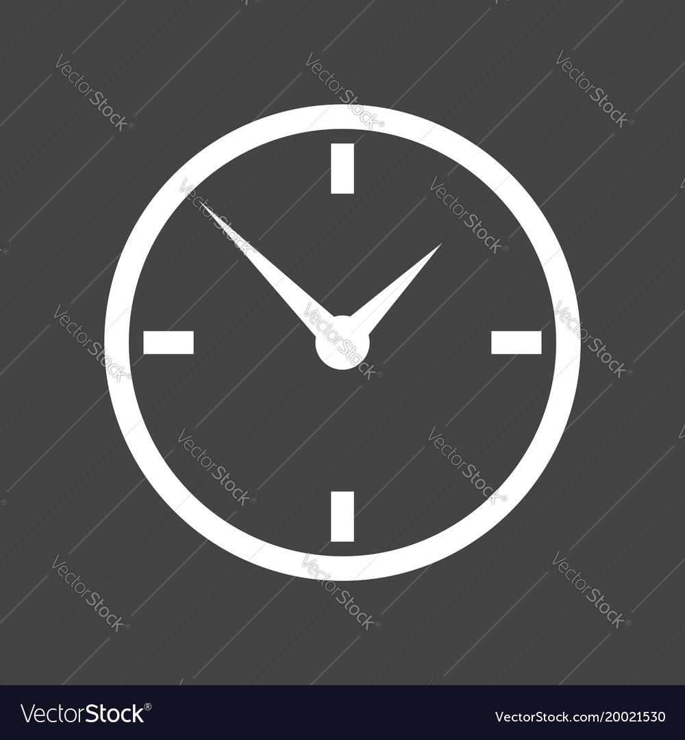 Clock icon flat design on grey background
