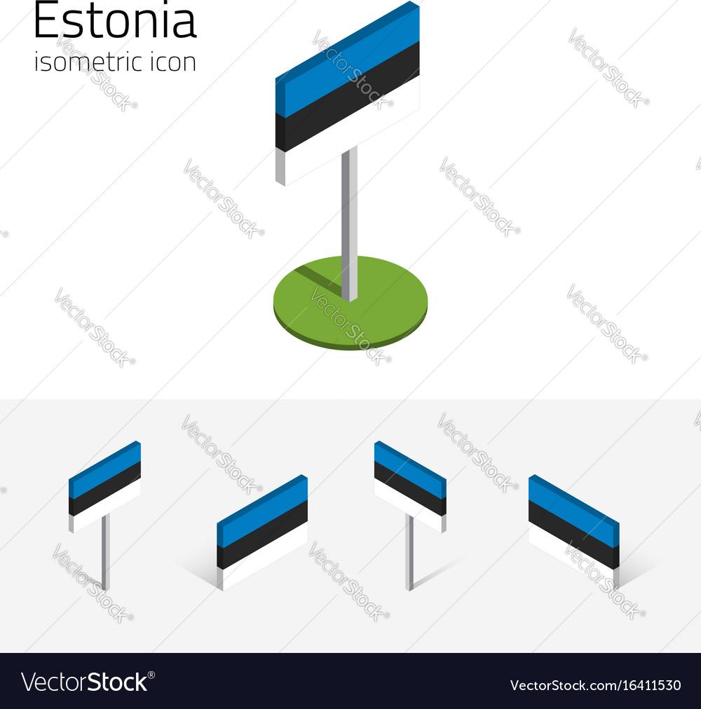Estonia flag set of 3d isometric icons vector image
