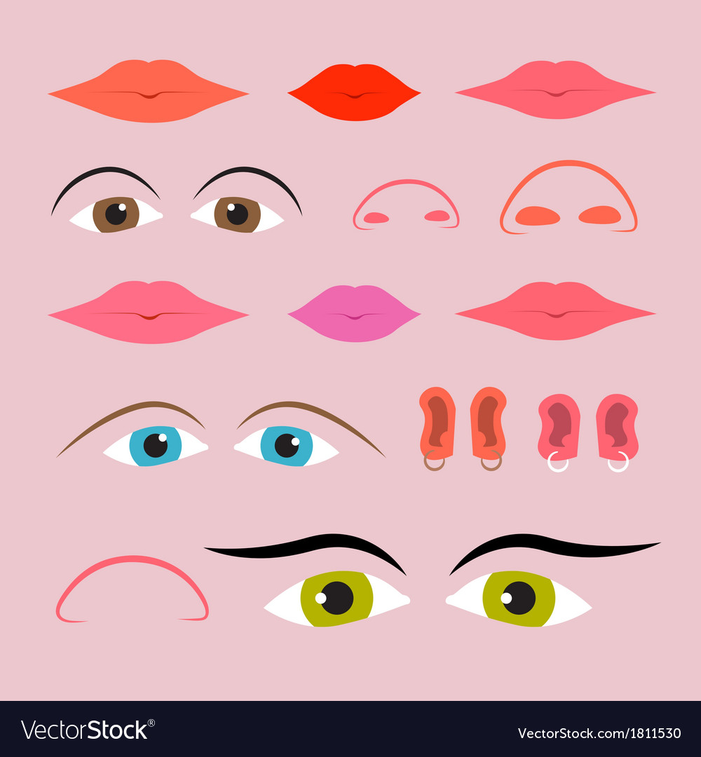 eyes mouths noses and ears set royalty free vector image