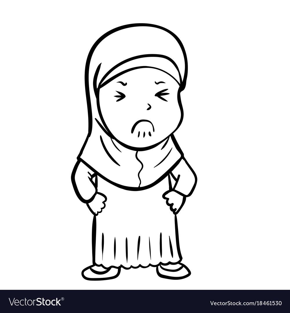 Hand drawing frustrated muslim girl
