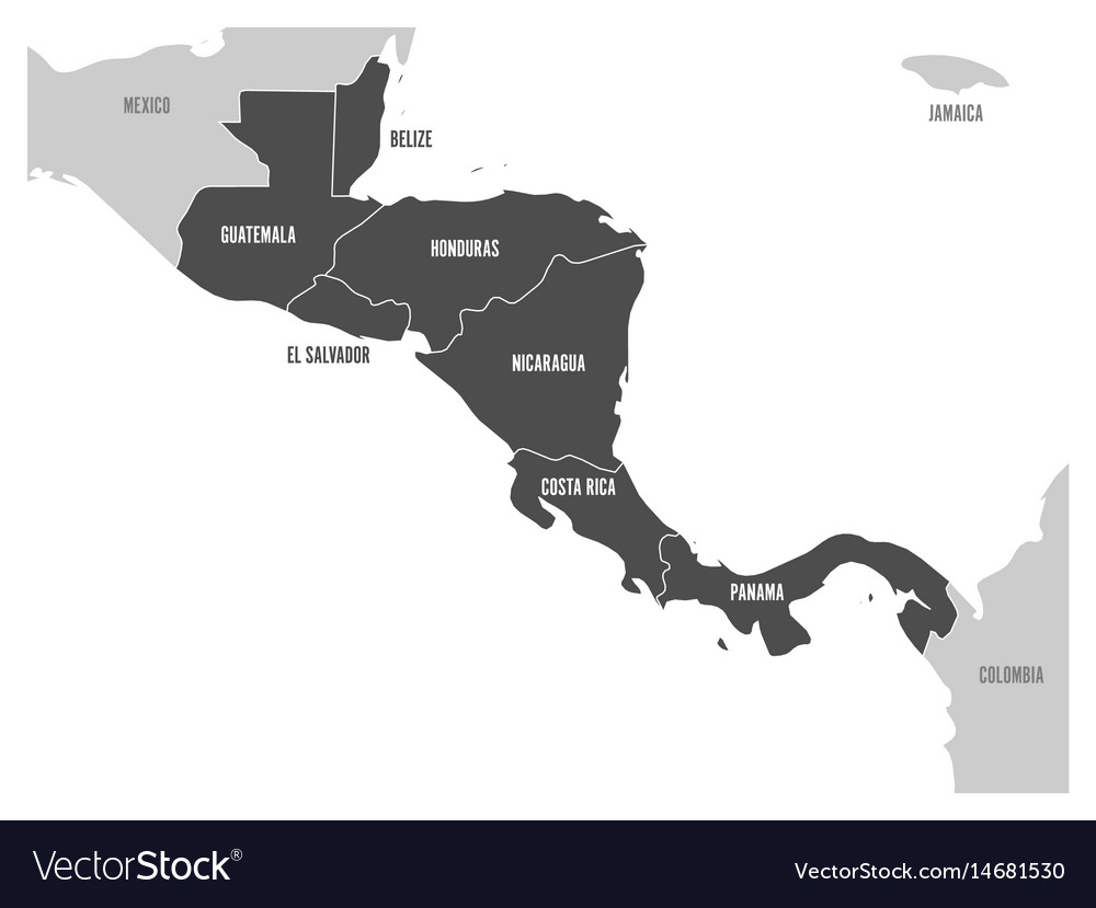 Map of central america region with dark gray