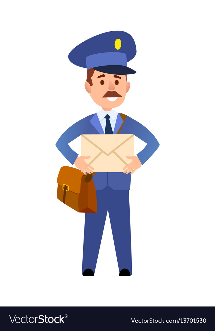 Postman delivering letter isolated cartoon vector image