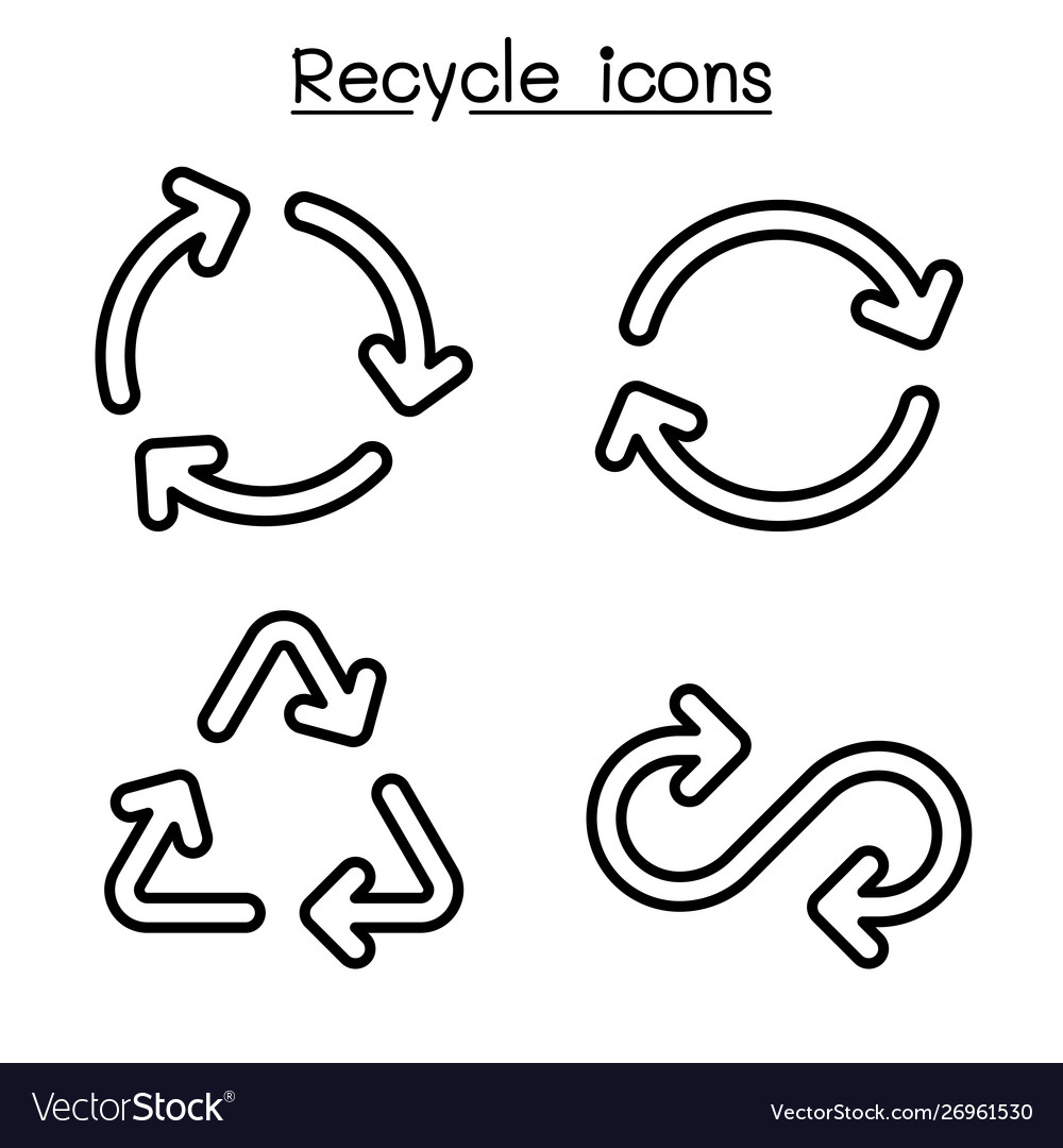 Recycle icon set in outline style