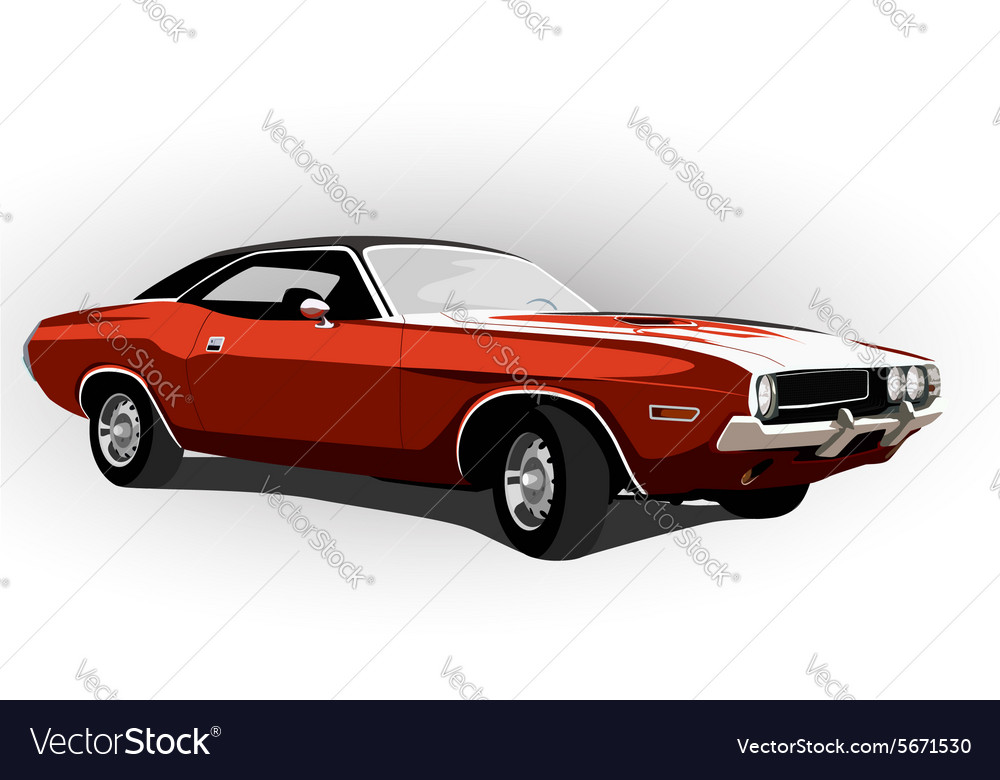 Red classic muscle car vector image
