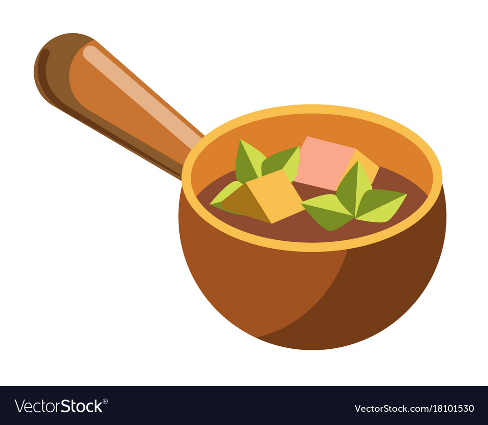 Soup with cheese and meat cubes in clay bowl