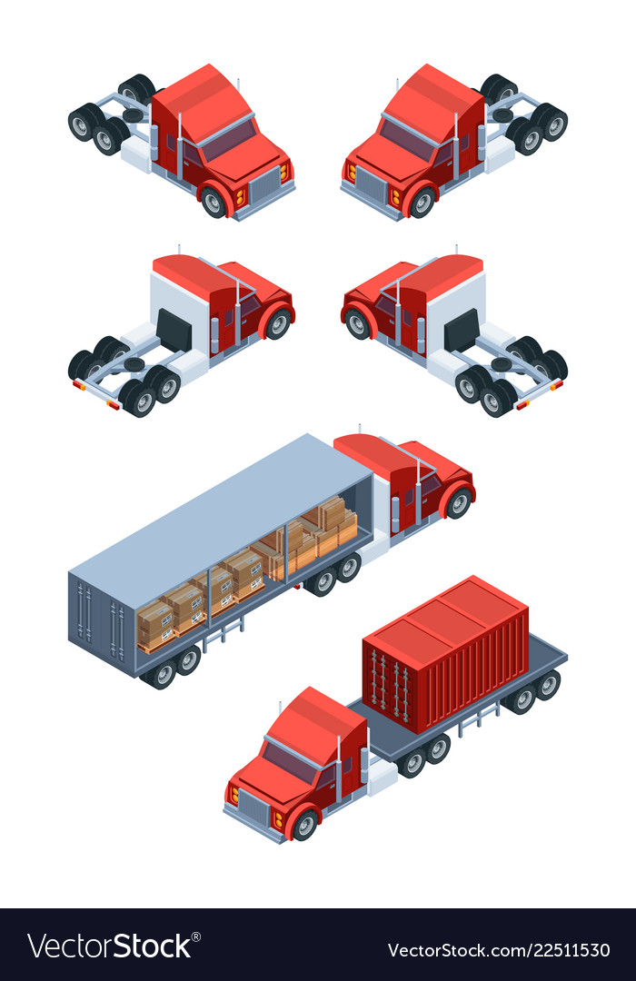 Various freight transport pictures of isometric