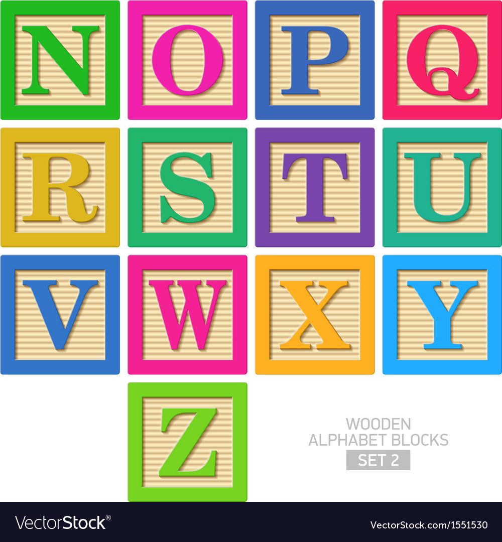Wooden alphabet blocks vector image
