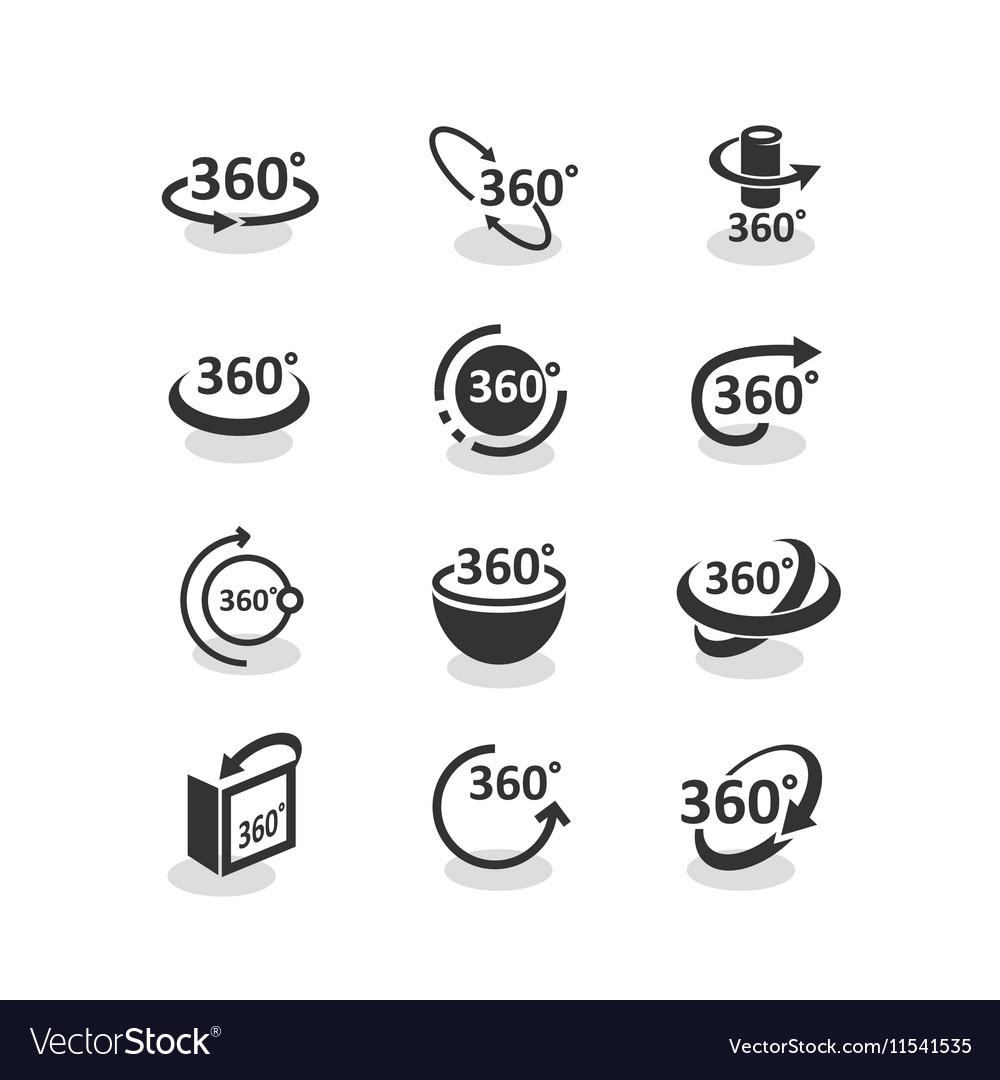 360 degree rotation icons set