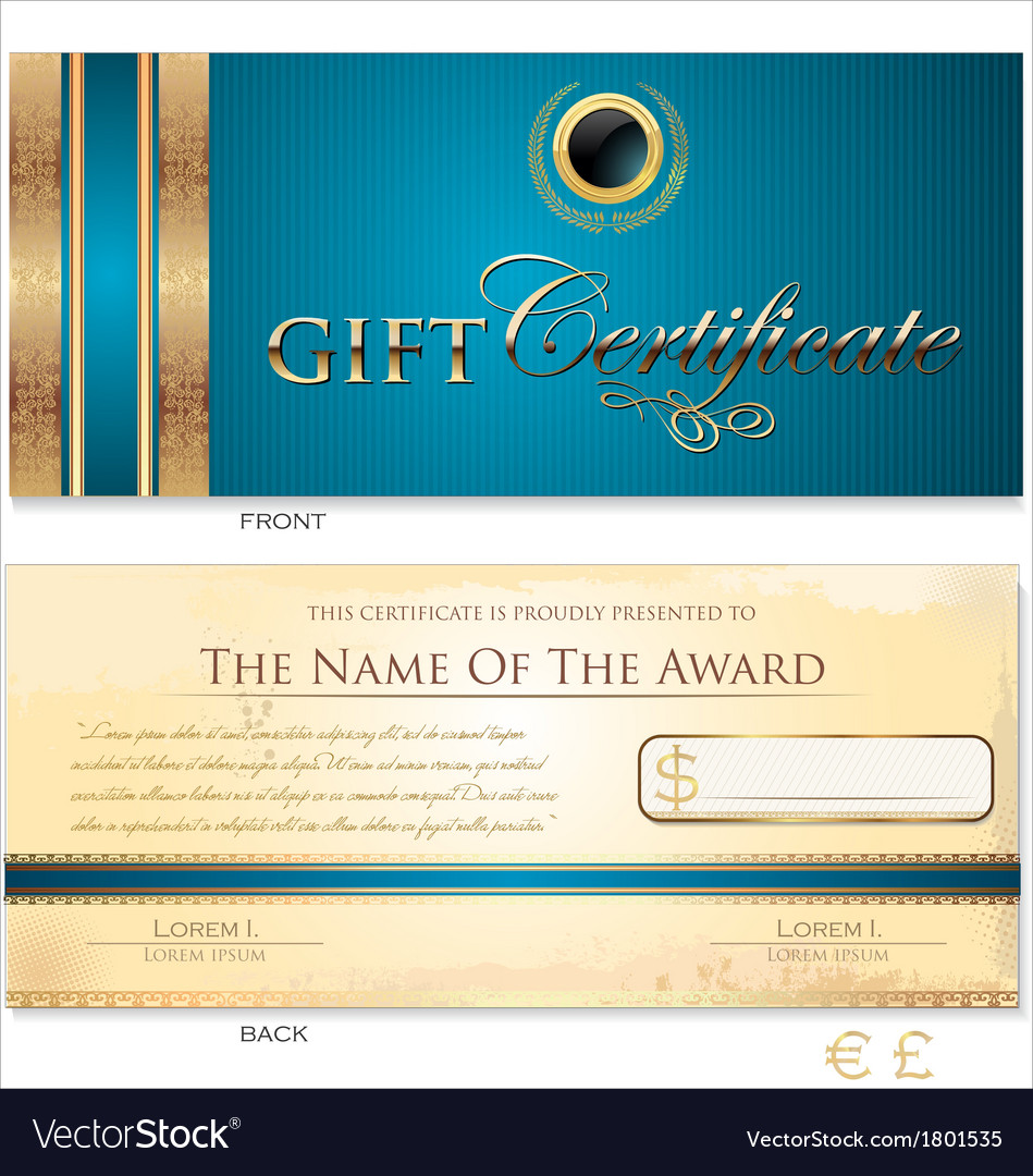 Blue gift certificate template royalty free vector image blue gift certificate template vector image yelopaper Choice Image