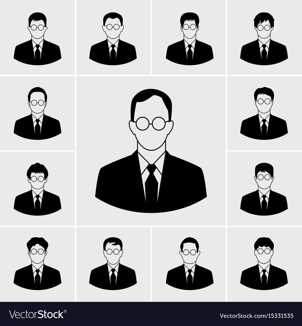 Business man icons set