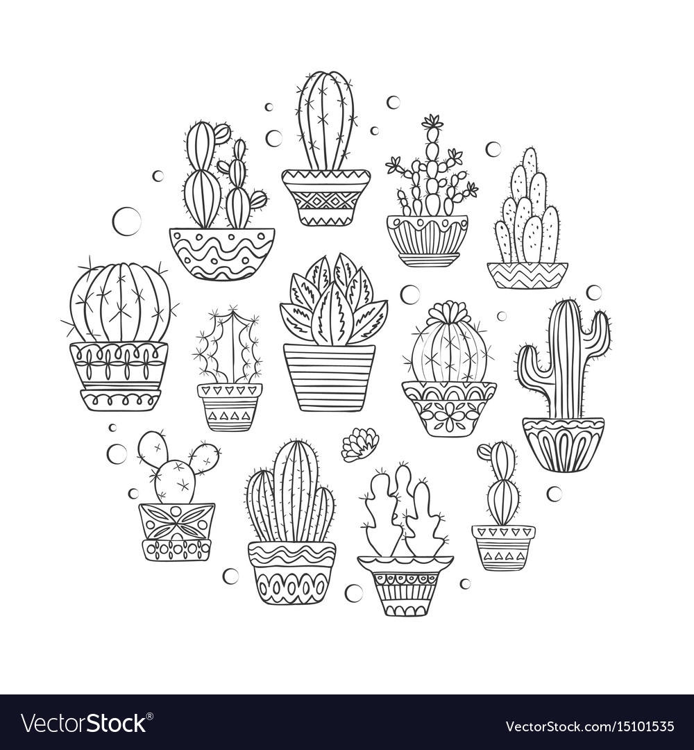 Cute hand drawn cactuse set vector image