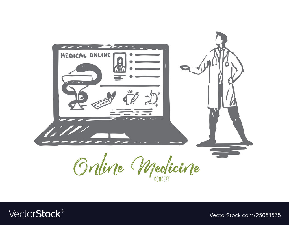 Doctor online medicine laptop service concept