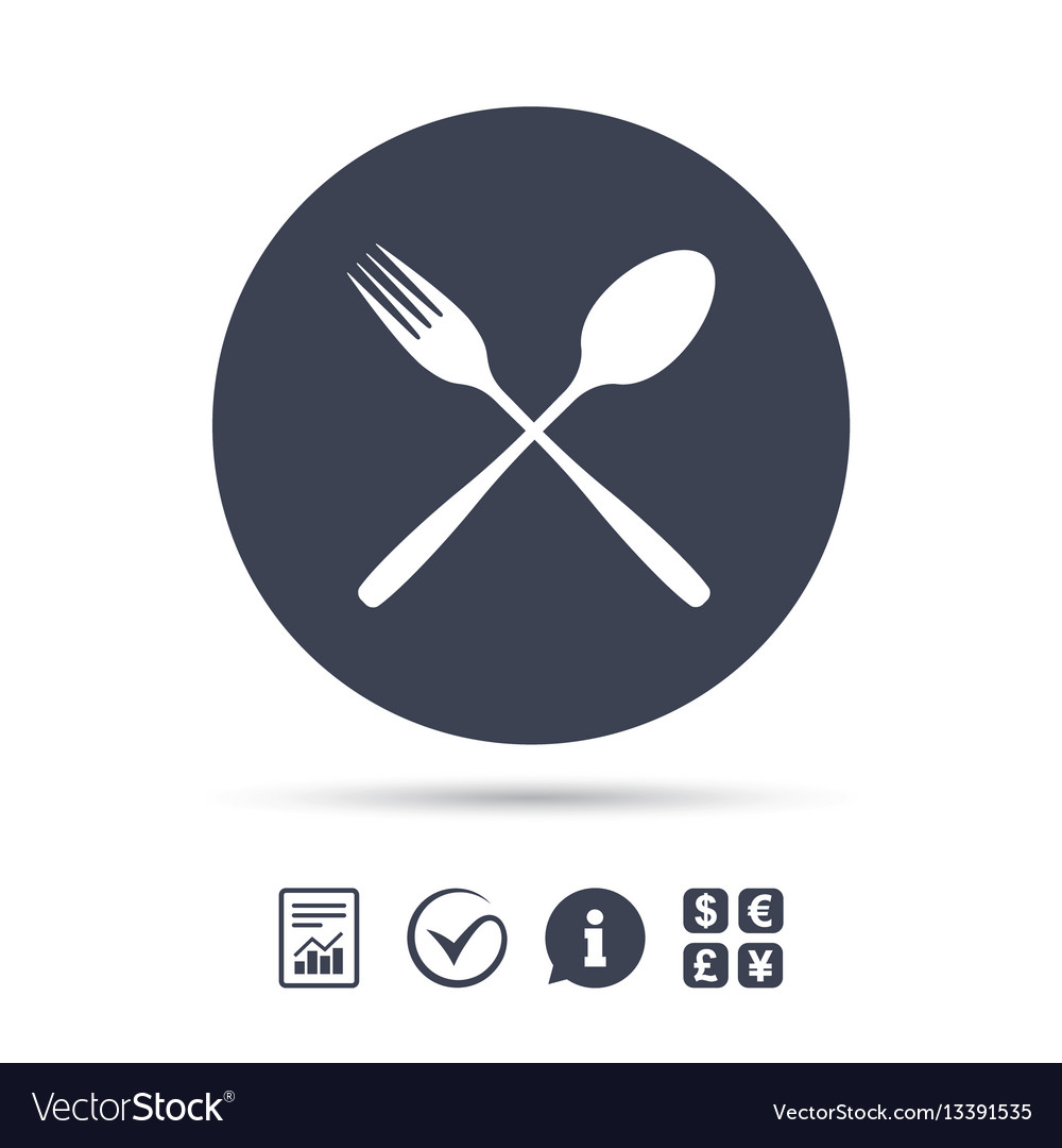 Eat Sign Icon Cutlery Symbol Fork And Spoon Vector Image