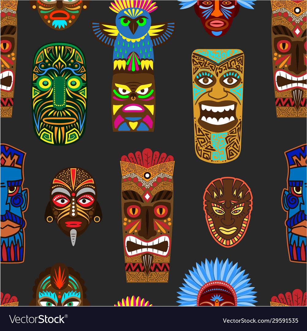 Ethnic african or mexican aborigen masks