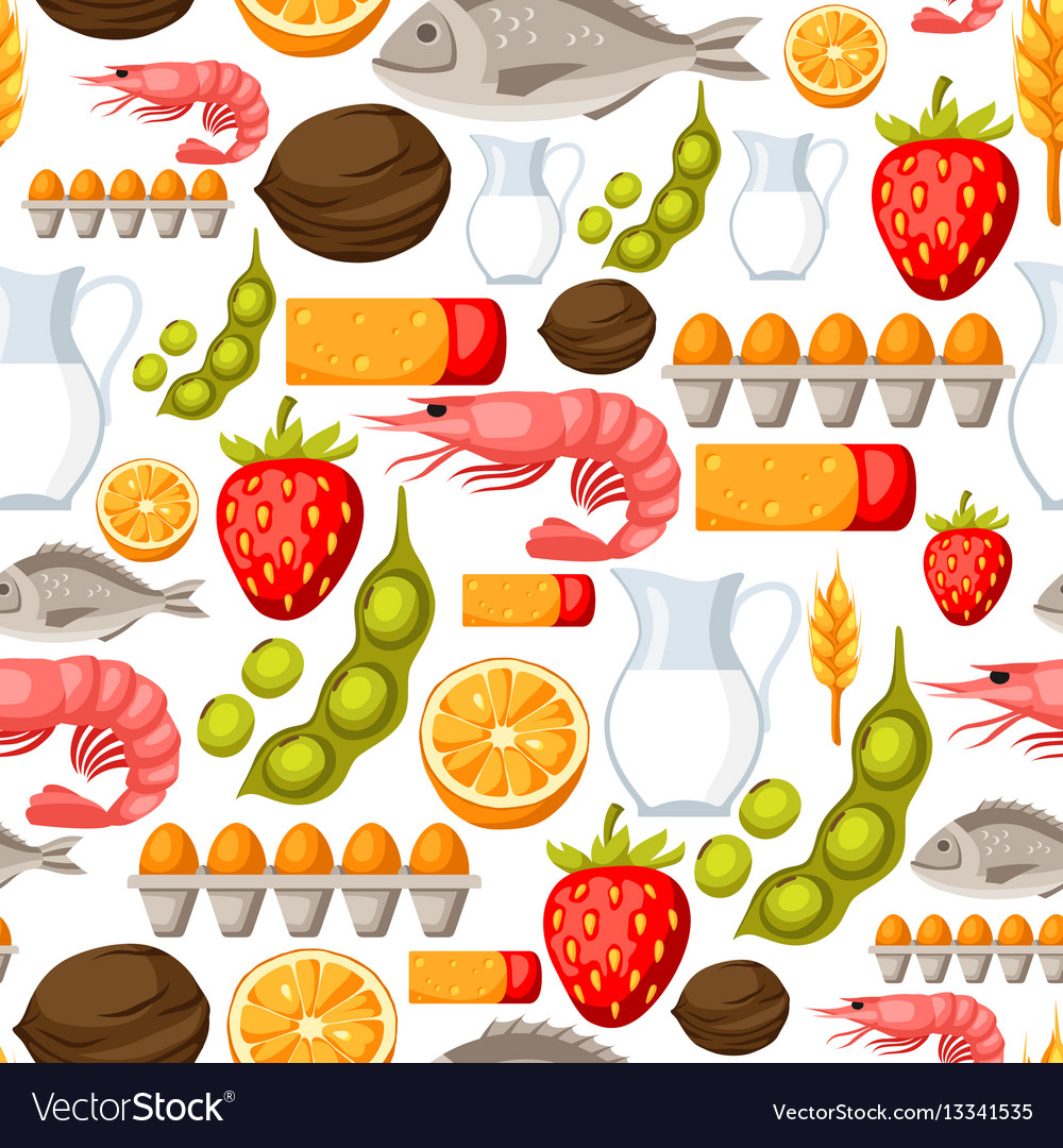 Food allergy seamless pattern with allergens and