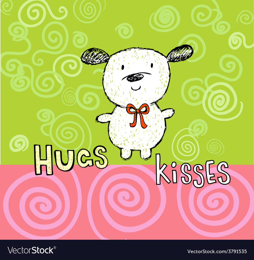 Hugs and kisses greeting card with cute puppy vector image m4hsunfo