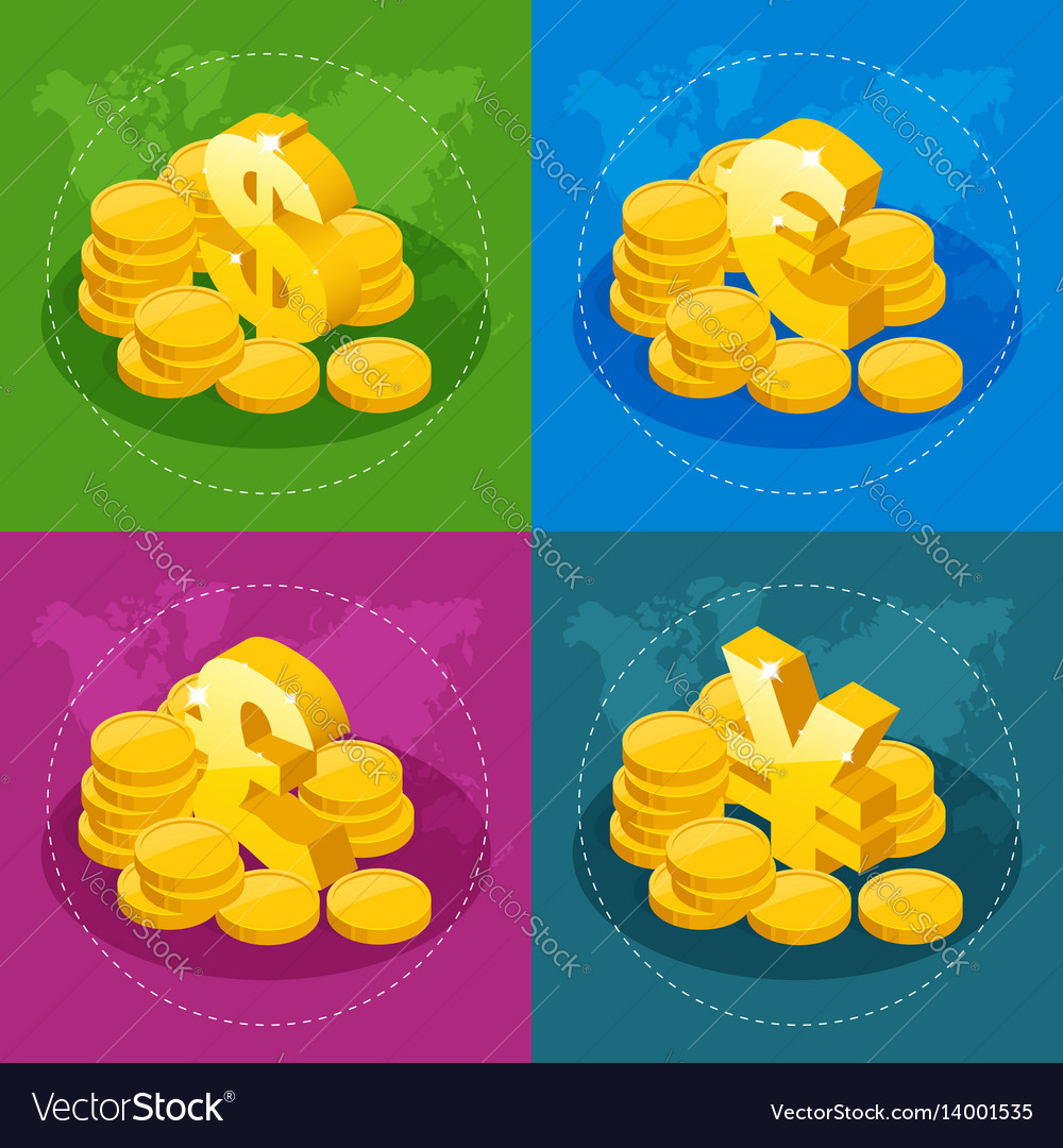 Isometric set of us dollar euro great britain
