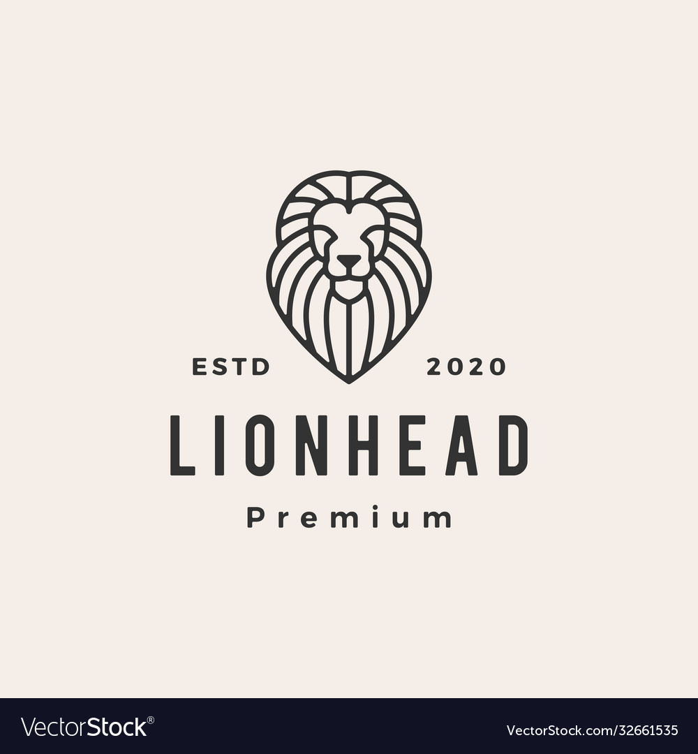 Lion head line outline hipster vintage logo icon