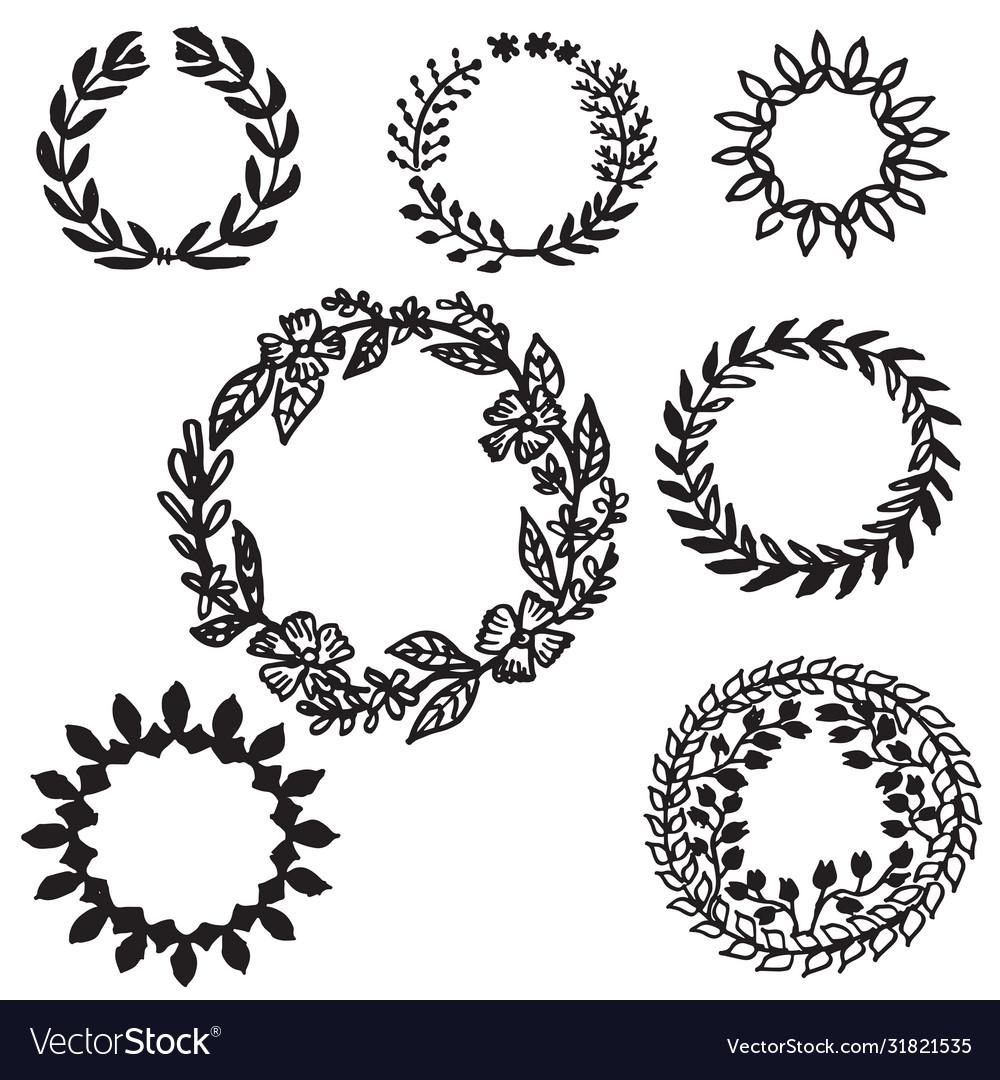 Set hand drawn leaves wreath decorative elements