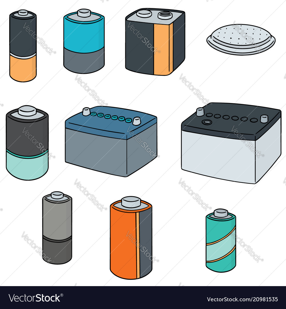 set of battery royalty free vector image vectorstock vectorstock