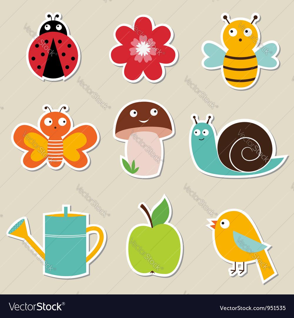 Summer garden stickers set