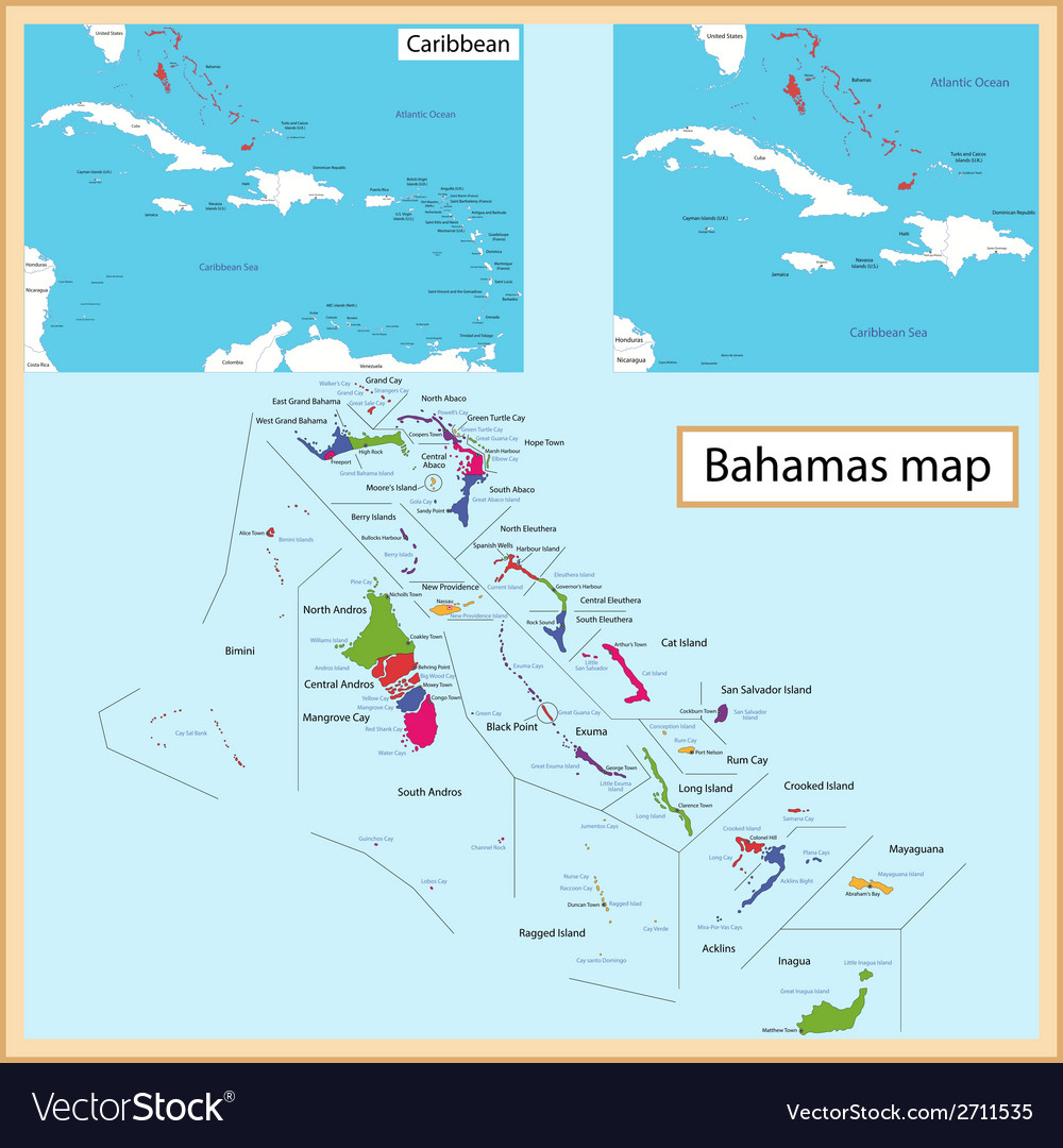 The Bahamas map Royalty Free Vector Image - VectorStock