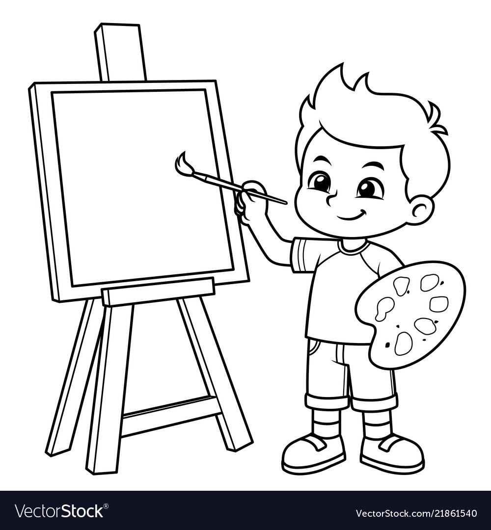 Boy learning to paint on his canvas bw