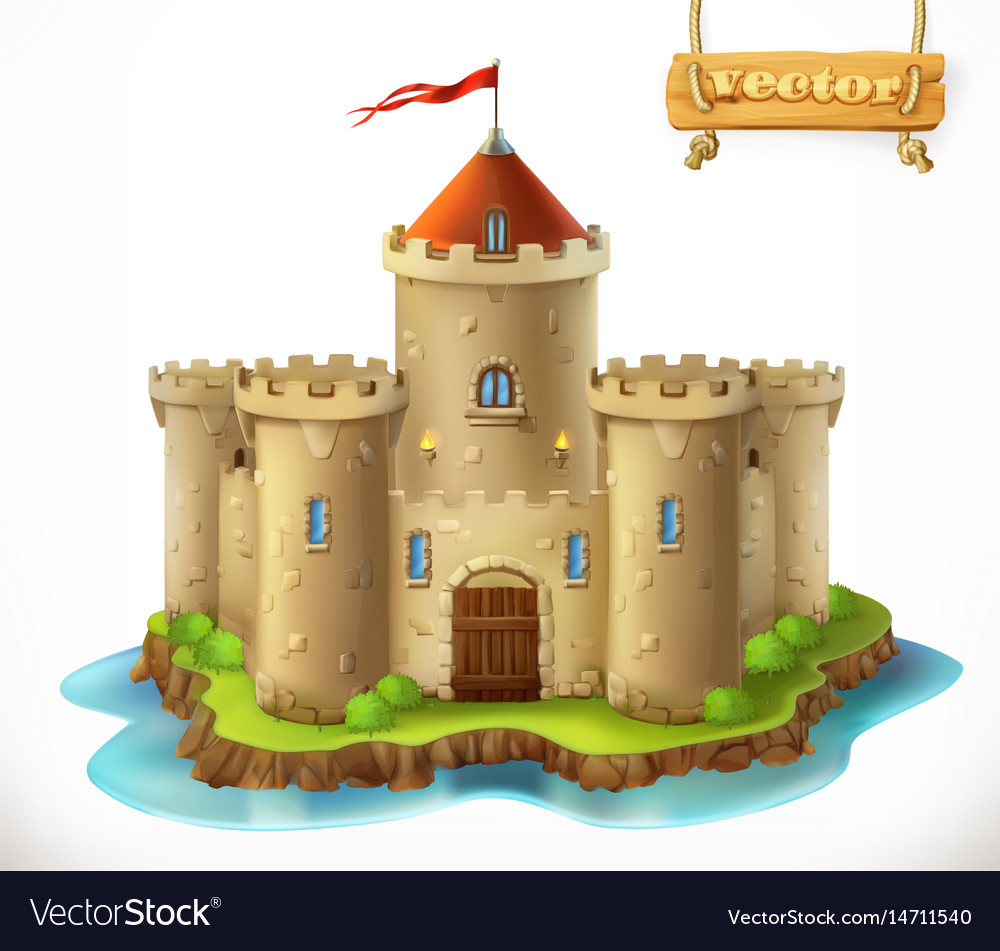 Castle 3d icon vector image