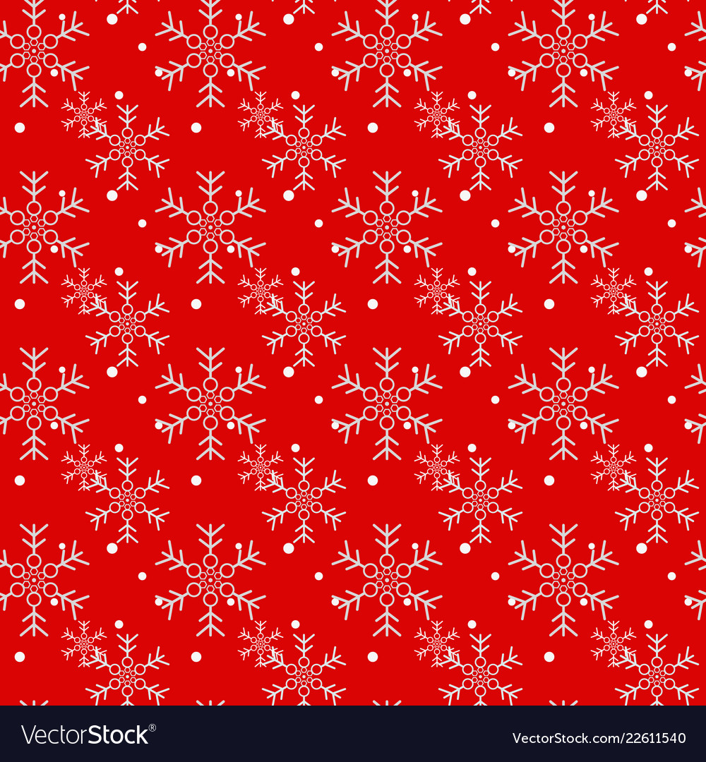 Christmas seamless pattern of snowflakes on red