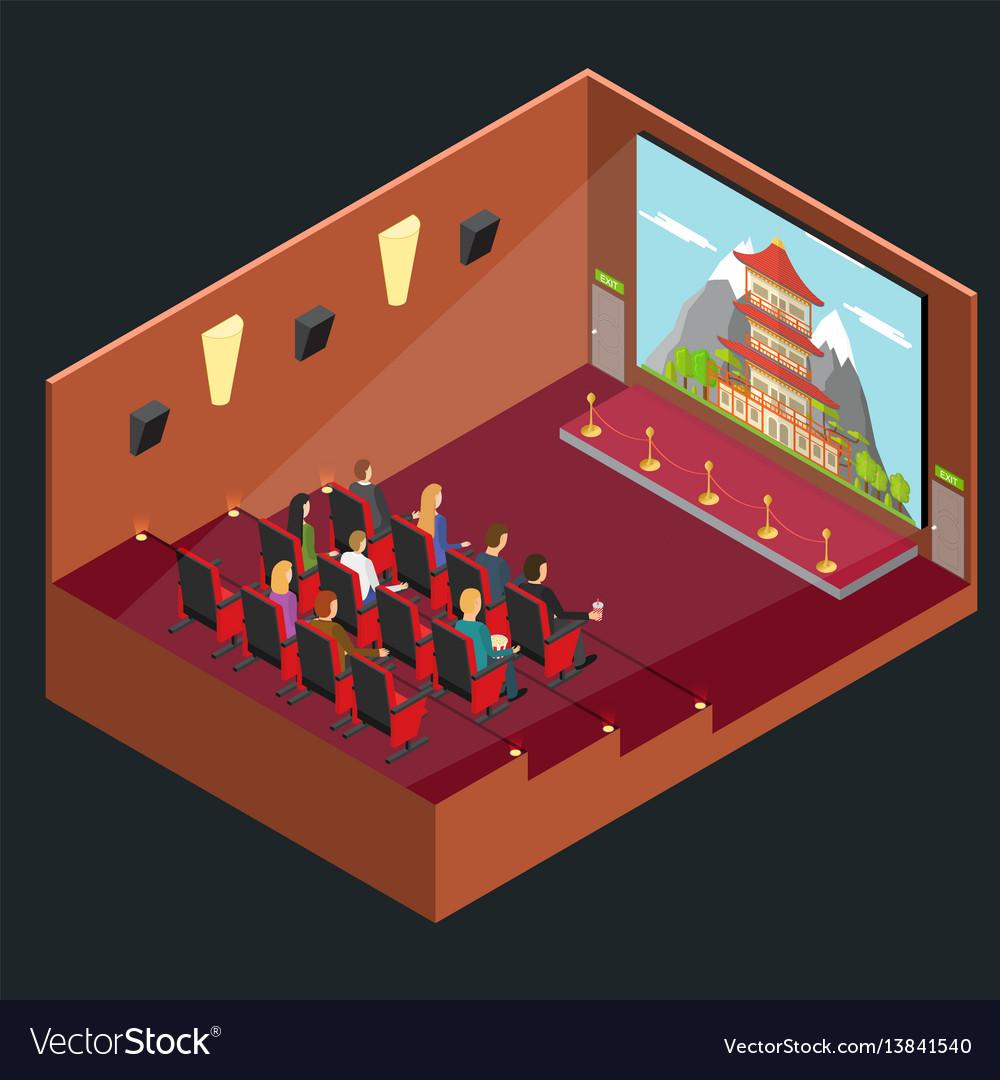 Cinema movie interior auditorium isometric view