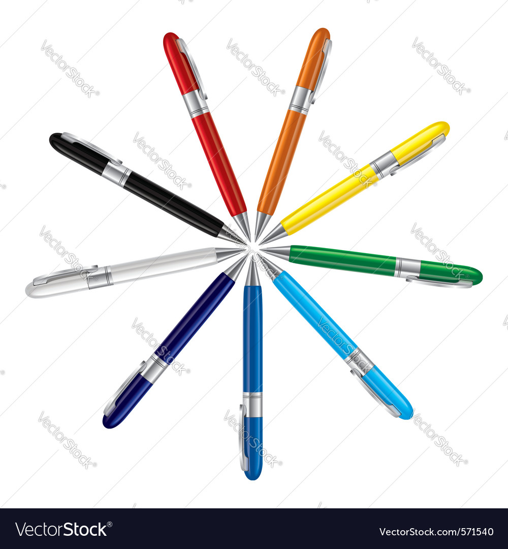 Colored ball pens vector