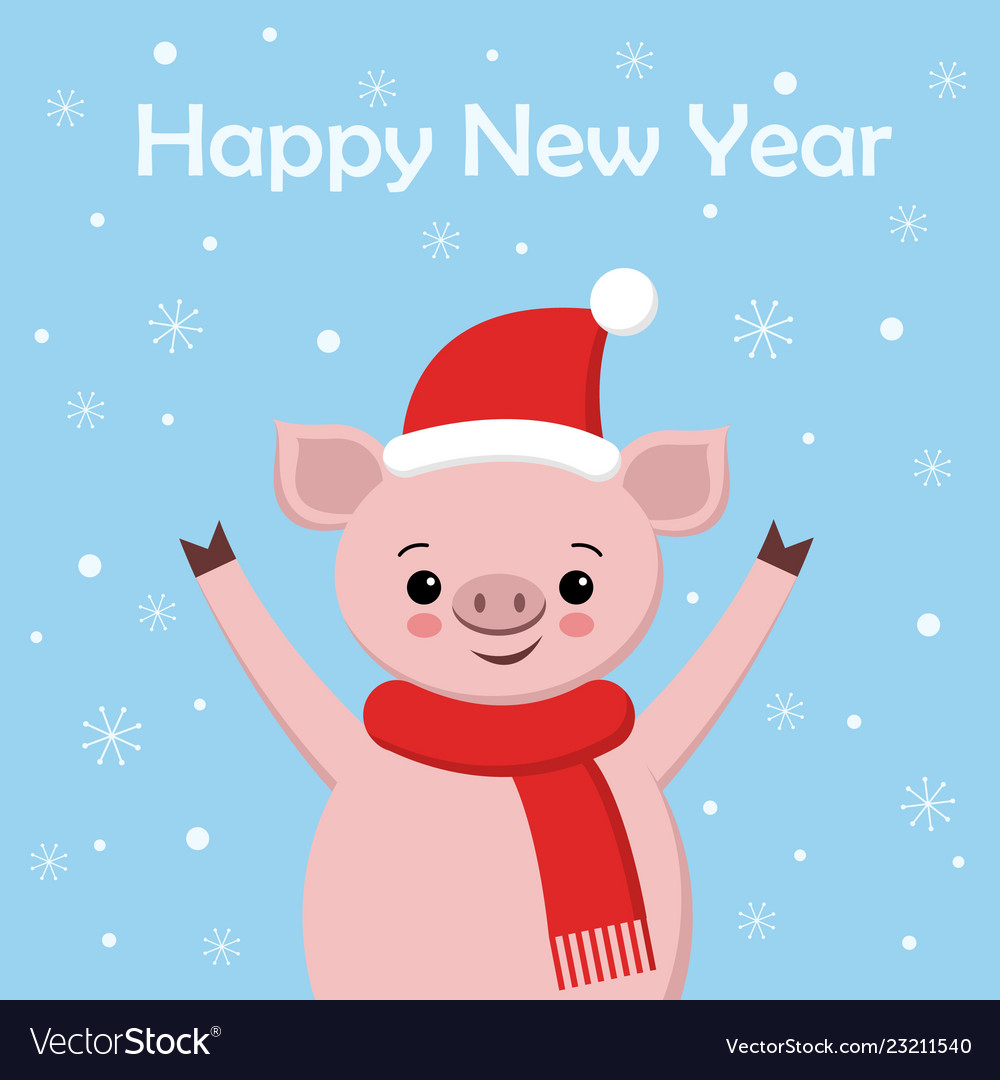 Cute pig greeting card merry christmas and happy