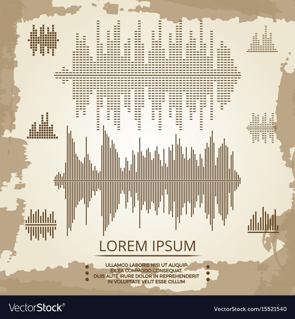 Equalizer and sound waves vintage poster vector image